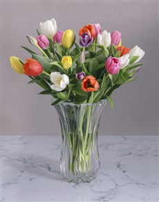 flowers: Tulips in a Cylinder Vase!