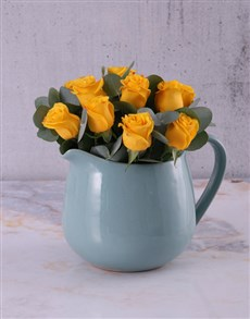 flowers: Yellow Roses in Ceramic Water Jug!