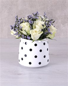 flowers: White Roses in Polka Dot Vase!
