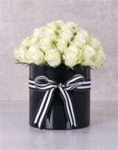 flowers: White Roses in Ribbon Stripe Box !