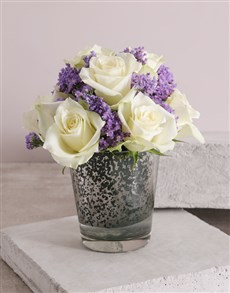 flowers: White Paradise Rose Vase!