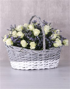 flowers: Radiant White Rose Basket!