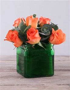 flowers: Orange Roses in Green Square Vase!