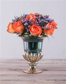 flowers: Orange Roses in Petite Amber Vase!