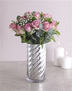 flowers: Pink Roses and Twirl Vase!