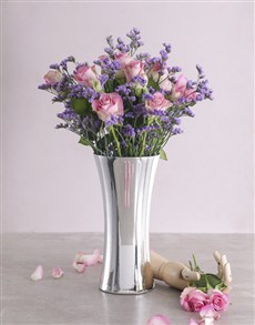 flowers: Blushing Pink Roses in Silver Vase!