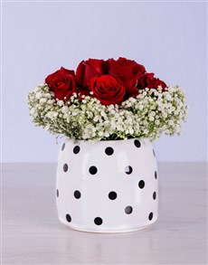 flowers: Red Roses in Spotted Pot!