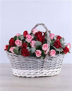 flowers: Mixed Roses in Grey Willow Basket!