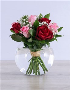 flowers: Mixed Roses in Round Vase!