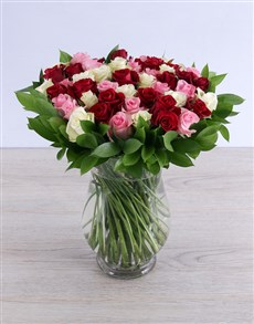 flowers: Luscious Mixed Rose Arrangement!