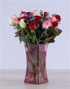 flowers: Mixed Roses in Tickled Pink Vase!
