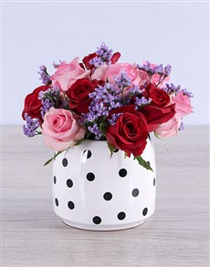 flowers: Mixed Roses in Polka Dot!
