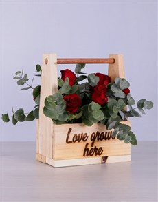 flowers: Red Roses in Wooden Holder!