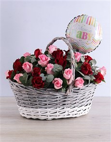flowers: Welcome Baby Rose Basket!