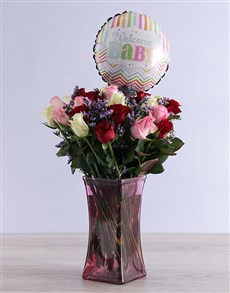 flowers: Mixed Roses and Baby Balloon!