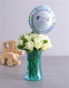 flowers: Baby Boy and Blue Arrangement!