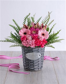 flowers: Pink Floral in Grey Basket!