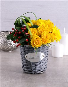 flowers: Yellow Touch of Red Basket!