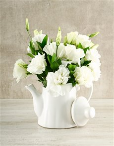 flowers: White Elegance Tea Pot Arrangement!
