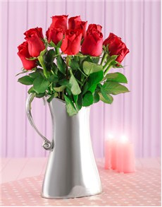 flowers: Silver Jug of Red Premium Roses!
