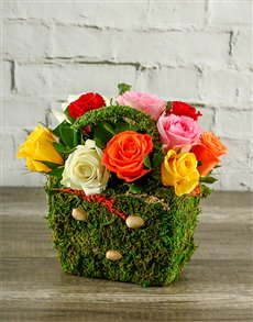 flowers: Mixed Roses in a Moss Basket!