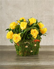 flowers: Yellow Roses in a Moss Basket!