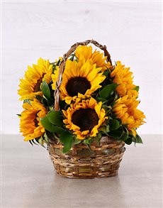 flowers: Woven Basket of Sunflowers!