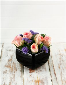 flowers: Pink Roses in a Black Pottery Vase!
