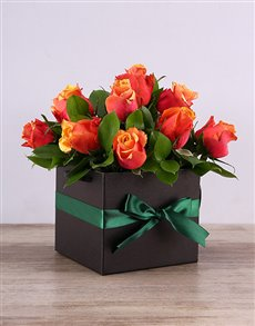 flowers: Cherry Brandy Roses in a Black Box!