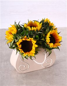 flowers: Sunflowers in a Ceramic Handbag!