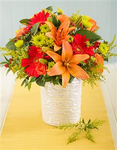 flowers: Orange and Red Flowers in Glazed Vase!