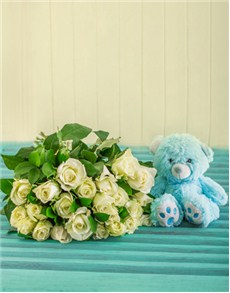 flowers: White Rose Bouquet with Blue Teddy!