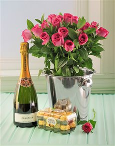 gifts: Pink Roses, Pongracz, Ice Bucket and Choc's!