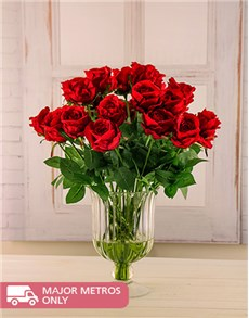 flowers: Red Silk Jessica Roses in Vase!