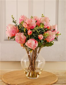 flowers: Pink Peonies with Eucalyptus in a Vase!