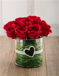 flowers: Jessica Silk Red Roses in Cylinder Vase!