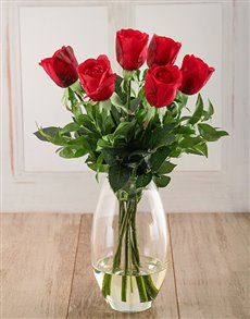 flowers: Jessica Red Roses, with Ruscus in a Vase!