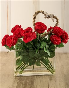 flowers: Silk Celion Red Roses in a Vase!