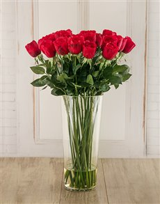 flowers: Long Stem Red Roses in a Vase!