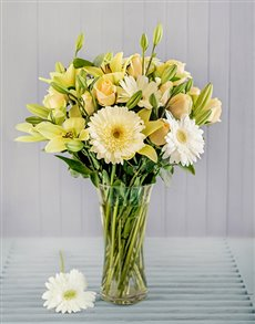 gifts: Cream and White Flowers in a Vase!