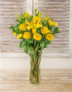 flowers: Yellow Gerbera Daisy Lily and Rose Vase!