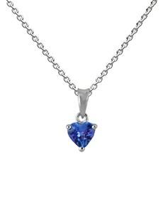 jewellery: 9KT White Gold Heart 0.50ct Tanzanite Pendant!