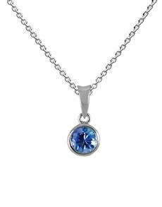 jewellery: 9KT White Gold Round Tube 0.50ct Tanzanite Pendant!