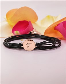 gifts: 9KT Rose Personalised Initial Disk on Black Silk!