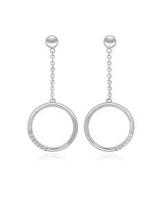gifts: Silver Drop Circle of Life CZ Earrings!