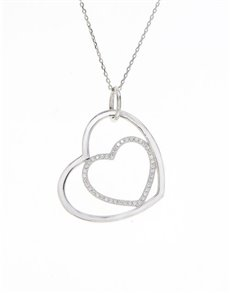 gifts: Sterling Silver Double Heart Cubic Necklace!