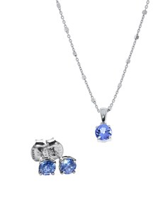 gifts: Silver Tanzanite 1,10ct Earring and Necklace Set!