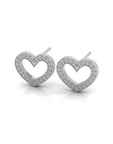 jewellery: WHY Sterling Silver Diamond Heart Earrings!
