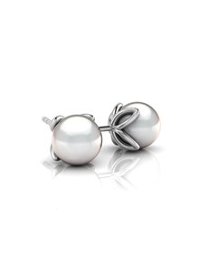 jewellery: WHY Sterling Silver Pearl Studs in Leaf Setting!