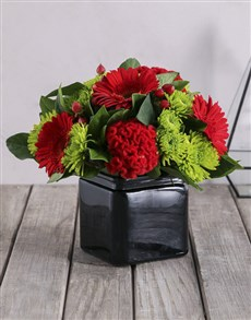 flowers: Red and Green in Black Vase!